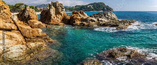 Fototapeta Seascape of resort area of the Costa Brava near town Lloret de Mar in Spain obraz