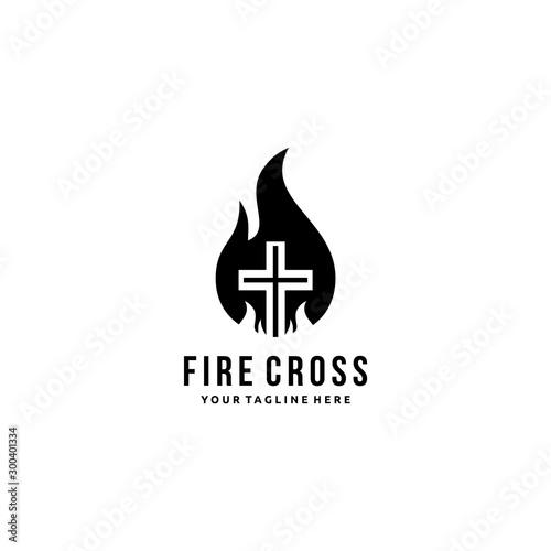 Photo Christian cross church logo design