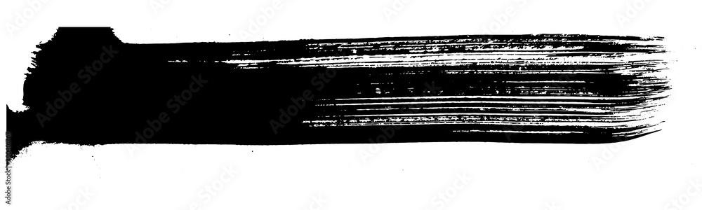 Fototapety, obrazy: Abstract black brush stripe. Black and white engraved ink art. Isolated brush design illustration element.