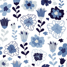 Cute Seamless Pattern With Flo...