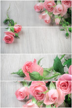 Collage With Small Pink Roses On Wood, St. Valentine Background, Text Space