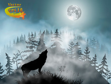 Silhouette Of The Wolf Howling At The Moon In The Forest At Night In Front Of The Spooky Hill Inside The Mist Clouds. Vector Illustration.