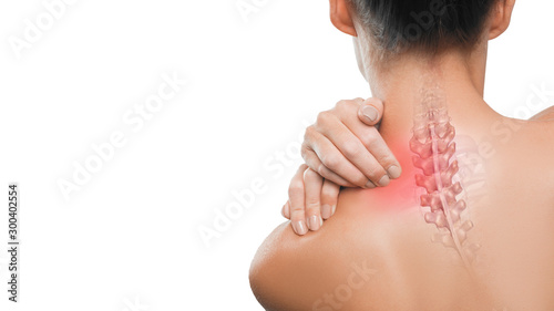 Health care and medical concept: pain in a neck. Fototapet