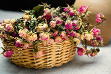 Basket With Dried Roses.