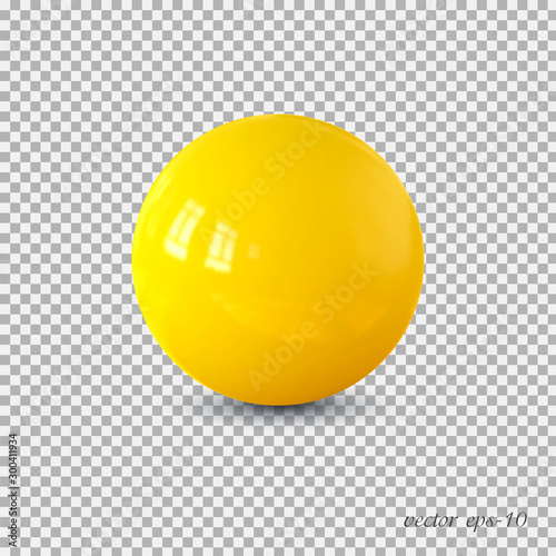 Obraz na plátně Yellow realistic ball vector