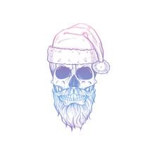 Hand Drawn Angry Skull Of Santa Claus
