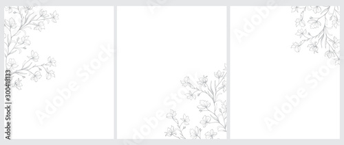 Fotografija Set of 3 Blooming Tree Twigs Vector Illustration