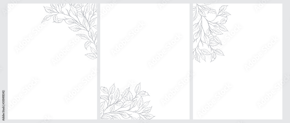 Fototapeta Set of 3 Tree Twigs Vector Illustration. Gray Tree Branches Isolated on a White Background. Simple Elegant Wedding Cards. Floral Hand Drawn Arts. Illustration Without Text.