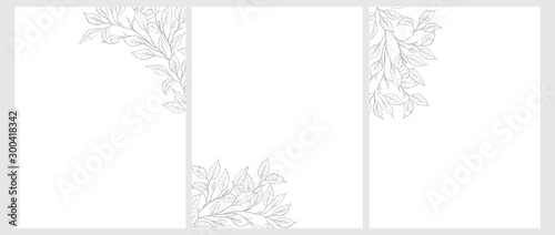 Obraz Set of 3 Tree Twigs Vector Illustration. Gray Tree Branches Isolated on a White Background. Simple Elegant Wedding Cards. Floral Hand Drawn Arts. Illustration Without Text. - fototapety do salonu