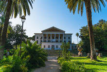 Museum Of Villa Torlonia In Park, Rome, Italy. Beautiful Old Historic White Building.