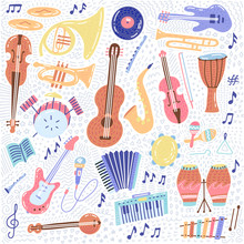 Big Music Set Musical Instrument And Symbols Icons Collections. Cartoon Sound Concept Elements. Music Notes With Piano, Guitar, Violin, Trumpet, Drum, Saxophone And Harp. Hand Drawn Doodle Vector