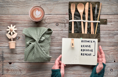 Valokuva  Flat lay, zero waste lunch concept - set of reusable wooden cutlery, lunch box in textile, coffee in reusable coffee cup