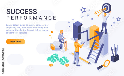 Canvastavla Success performance landing page vector template with isometric illustration