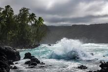 Crashing Waves Along The Hana Coastline, Maui