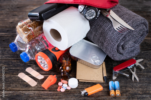 Obraz na plátně Emergency bag for earthquake