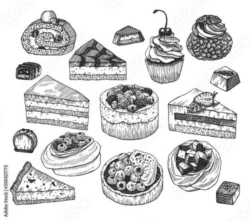 Vector ink sketch of desserts Fototapet