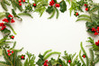 Christmas background with branches of fir tree, evergreens and holly with red berries on white. Winter nature concept. Flat lay, copy space.
