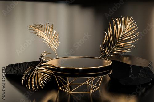 Fotografija Podium concept product display background, gold black stone round pedestal or platform, 3d rendering