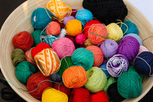 Colorful Yarn Balls For Knitting In A Basket