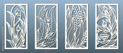 Obraz na plátně Laser cut panel template, anstract floral pattern