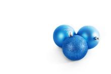 Three Blue Christmas Balls Iso...