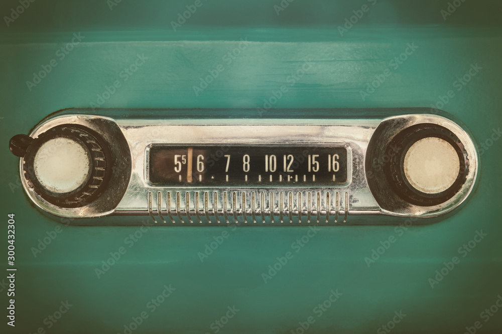 Fototapety, obrazy: Retro styled image of an old car radio