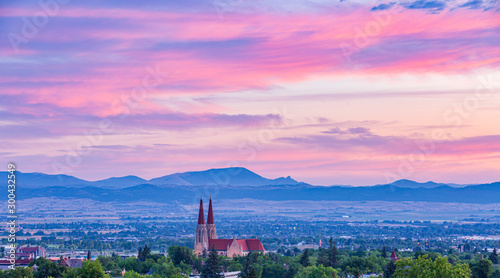 Beautiful sunrise lookin over the Helena Valley and the Catherdral