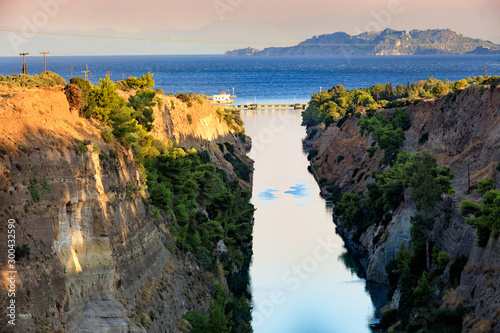 View of the Corinth Canal in Greece, the shortest European canal 6 Fototapet