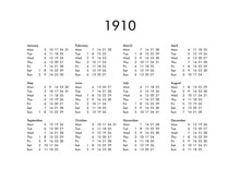 Calendar Of Year 1910