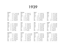 Calendar Of Year 1939