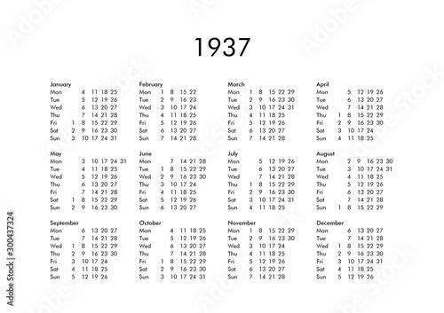 Valokuva  Calendar of year 1937