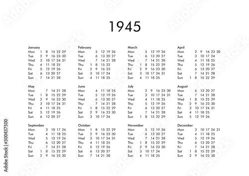Tela  Calendar of year 1945