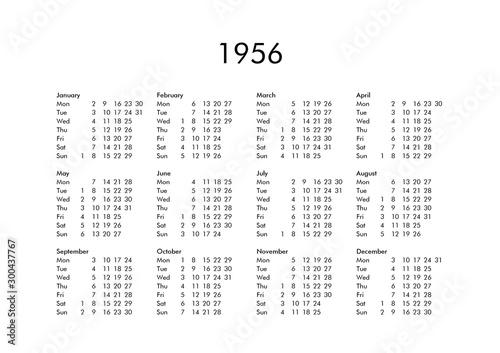 Calendar of year 1956 Tapéta, Fotótapéta