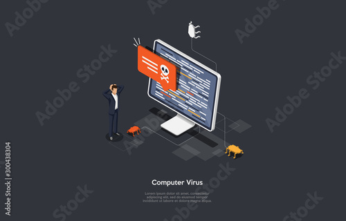 Fotografía Isometric Virus protection concept