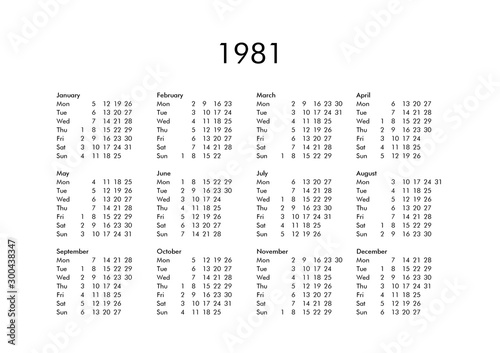 Photographie Calendar of year 1981