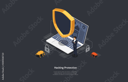 Fotomural Isometric Internet hacker attack and personal data security concept