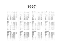 Calendar Of Year 1997