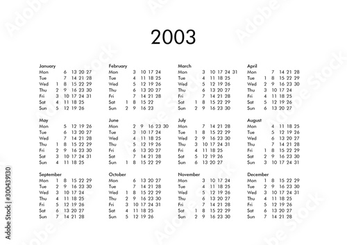 Tela  Calendar of year 2003
