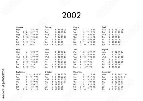 Tela  Calendar of year 2002