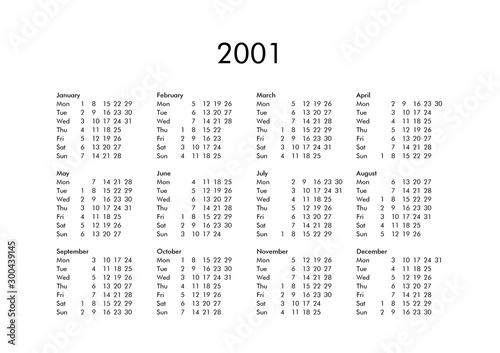 Tela  Calendar of year 2001