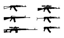 Kalashnikov Rifle. Firearms. Silhouette Set Of Kalashnikov Assault Rifle AK-47, AKM, AKC, AKMC, AK-74. M 16. Rifle SVD. Firearms In Combat. Assault Gun Wireframe. Machine Guns. Assault Rifles.
