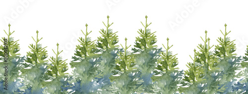 Montage in der Fensternische Pistazie Watercolor seamless background border set with Christmas trees decoration elements. Hand-drawn illustration on the white background