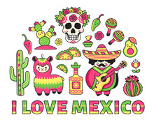 I Love Mexico Banner. Concept ...