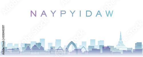 Leinwand Poster  Naypyidaw Transparent Layers Gradient Landmarks Skyline