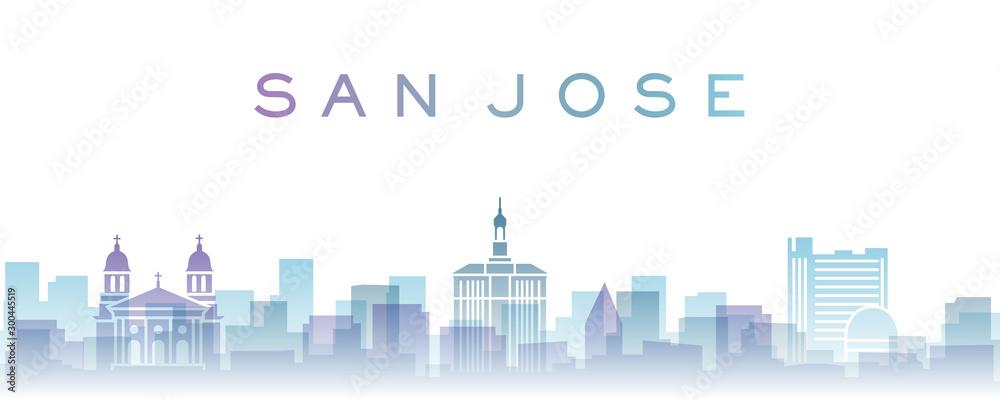 Fototapety, obrazy: San Jose Transparent Layers Gradient Landmarks Skyline
