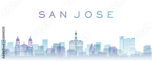 San Jose Transparent Layers Gradient Landmarks Skyline Canvas