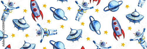 Hand drawn with pencil watercolor Space Background for Kids. Cartoon Rockets, Planets, Stars, Astronaut, Comets and UFOs.