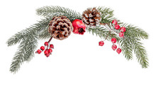 Christmas Creative Layout With Fir Tree Branches, Decorations And Ornaments Isolated On White Background. Xmas Wallpaper. Flat Lay
