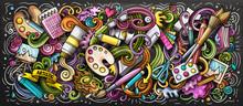Artist Supply Color Illustration. Visual Arts Doodle