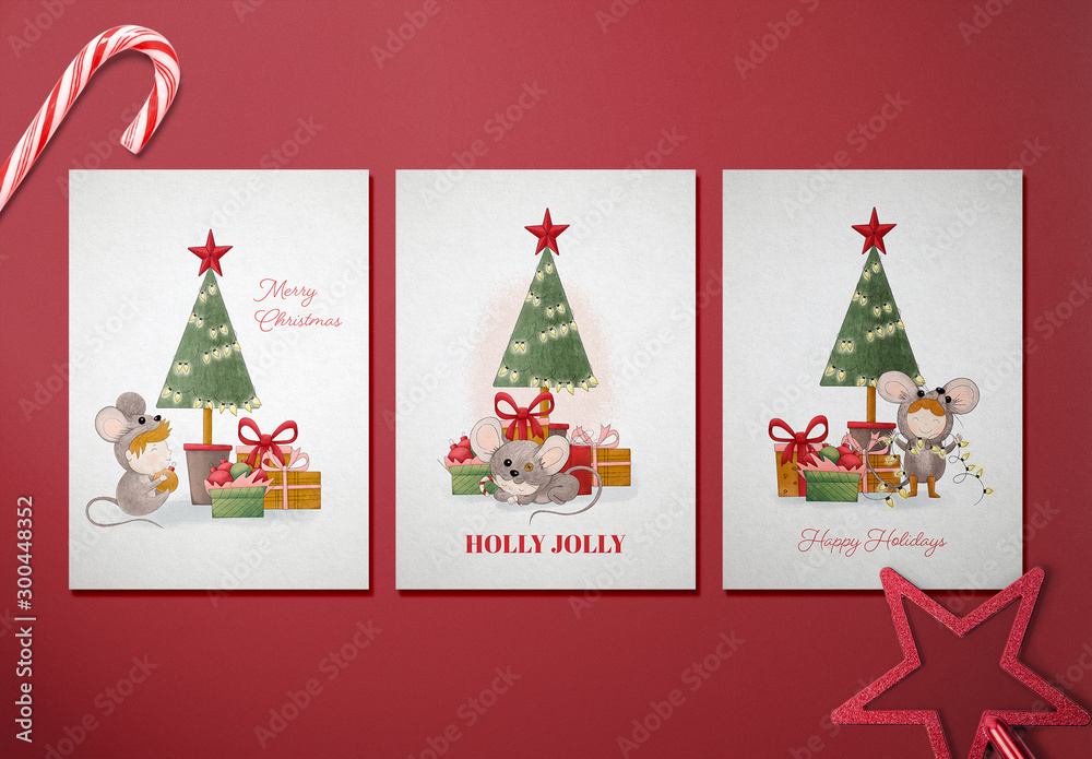 Fototapety, obrazy: Holiday Card Layout Set with Christmas Character Illustrations